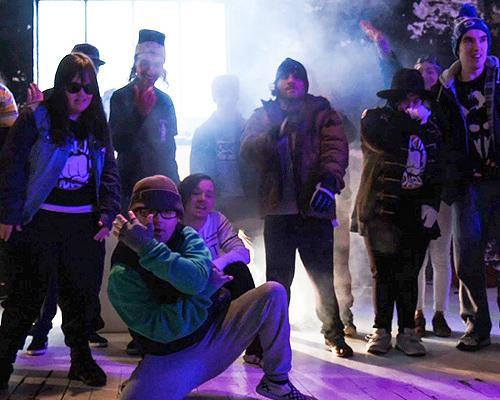 Members of the Inkrewsive hip-hop crew